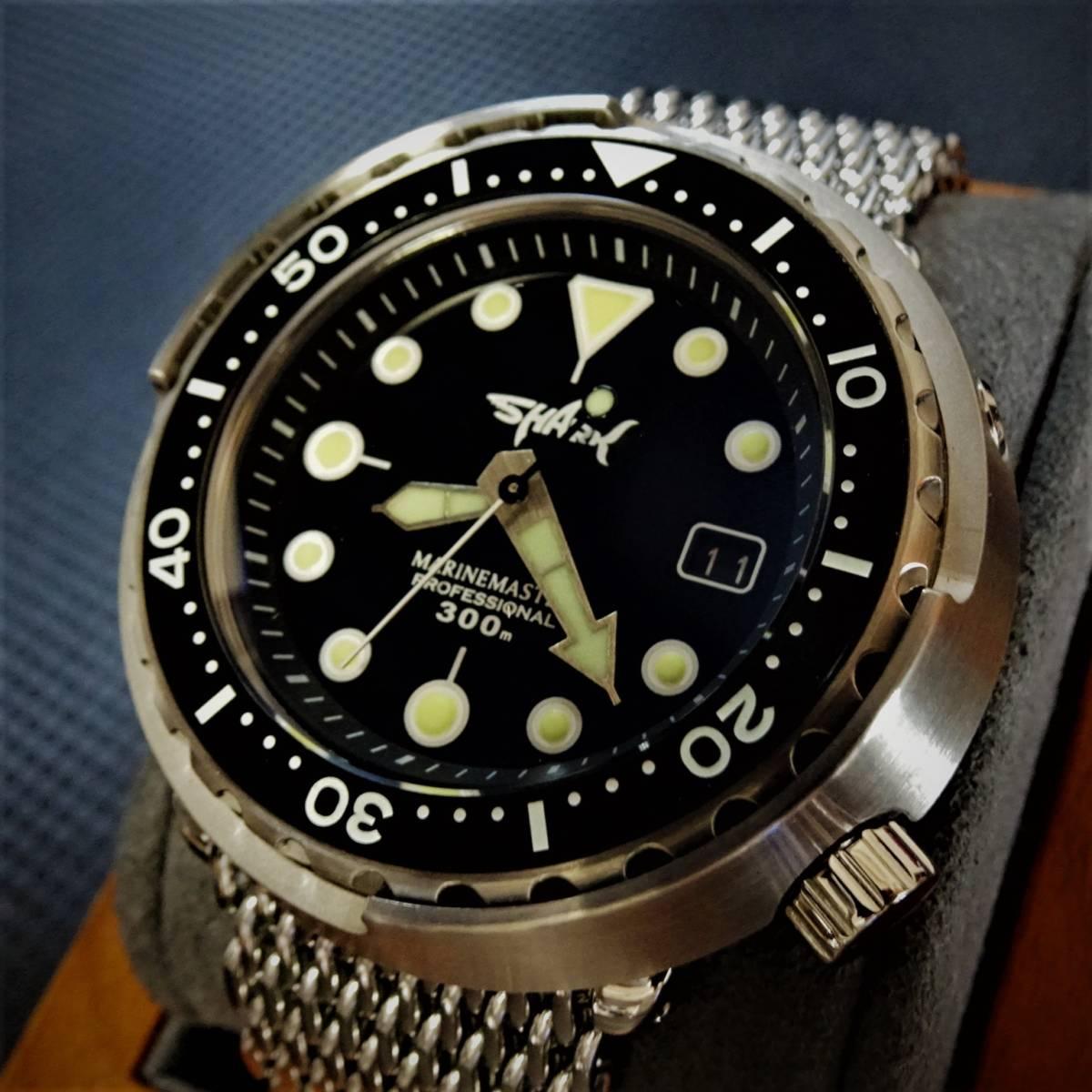 〓新品〓自動巻きNH35機械式腕時計ダイバープロフェッショナルツナ缶モデルSHARKオールステンレスオマージュウォッチシャークメッシュ