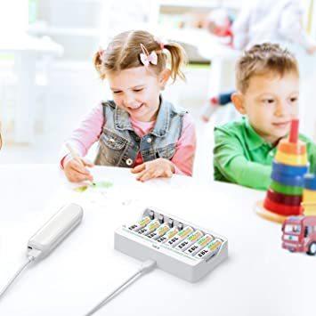 白い 電池充電器 EBL 充電池充電器 単三単四ニッケル水素/ニカド充電池に対応 単3単4電池充電器 1本~8本まで自由に充電可_画像7