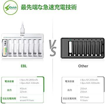 白い 電池充電器 EBL 充電池充電器 単三単四ニッケル水素/ニカド充電池に対応 単3単4電池充電器 1本~8本まで自由に充電可_画像4