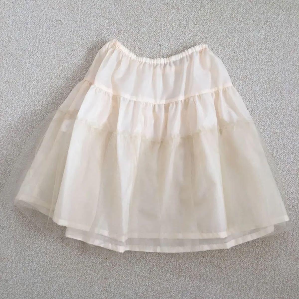 ドレス ワンピース パーティードレス ベージュ パニエ付   ミディアムドレス ミニドレス