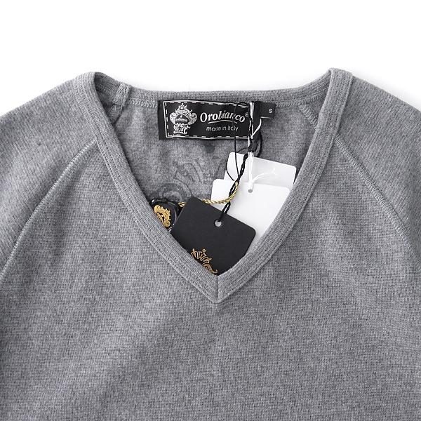 新品 オロビアンコ イタリア製 ラグラン Vネック 半袖 ニットソー S 灰 【I52936】 Orobianco Tシャツ 春夏 メンズ サマー カットソー_画像3