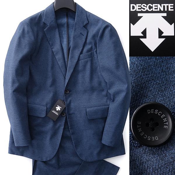 新品 DESCENTE デサント デニムルック トラベル セットアップ スーツ L 青 【J48846】 春夏 洗濯可能 メンズ ビジネス スポーツ