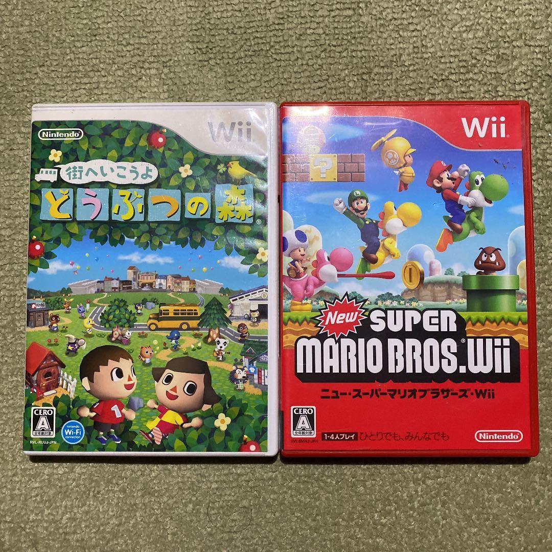 Wii ニュースーパーマリオブラザーズWii 街へいこうよどうぶつの森 即決