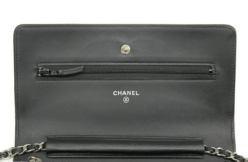 CHANEL/シャネル チェーンウォレット キャビアスキン ブラック 黒 SV 斜め掛け ココマーク レディース A48654 ギャラ 箱付_画像5