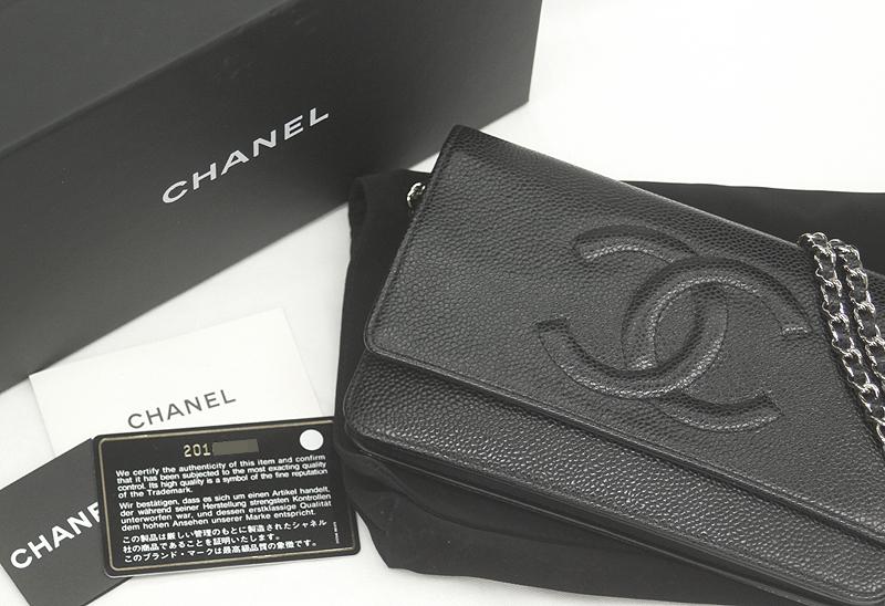 CHANEL/シャネル チェーンウォレット キャビアスキン ブラック 黒 SV 斜め掛け ココマーク レディース A48654 ギャラ 箱付_画像10