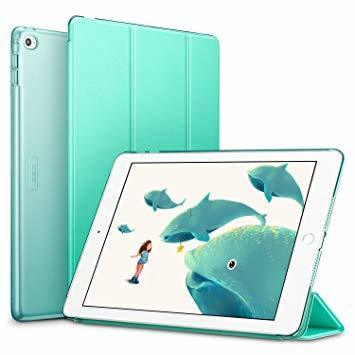 ミント ESR iPad Air2 ケース 軽量 薄型 オートスリープ スタンド機能 半透明ー PUレザー 傷つけ防止 三つ折_画像1