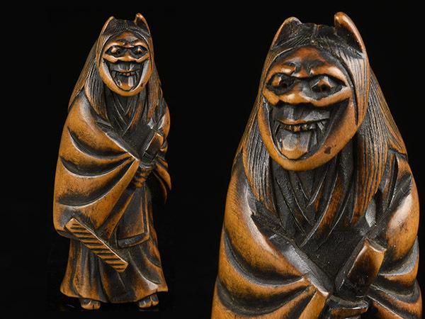 【加】173e 時代 提げ物 木彫 彫刻 根付