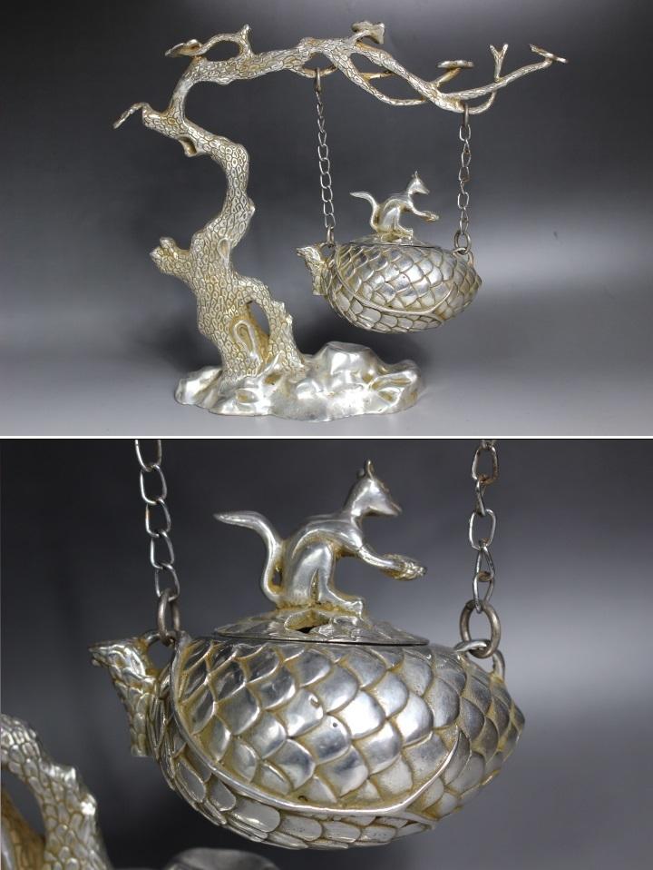 【最上】古香炉 香炉 特大 栗鼠 木 古玩 銀細工 1.35kg 古玩 年代物_画像3