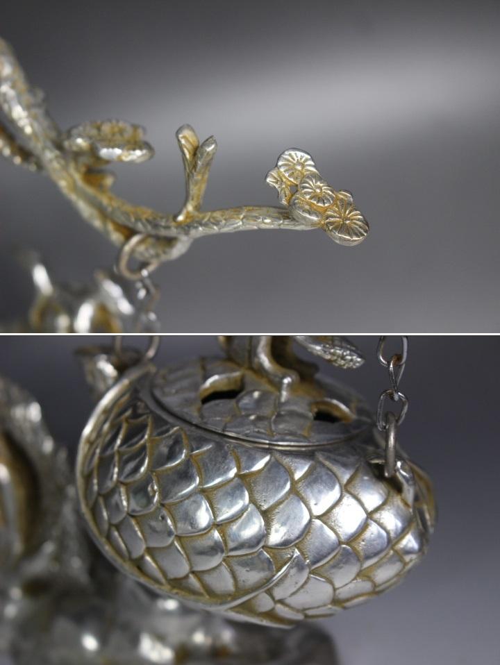 【最上】古香炉 香炉 特大 栗鼠 木 古玩 銀細工 1.35kg 古玩 年代物_画像6