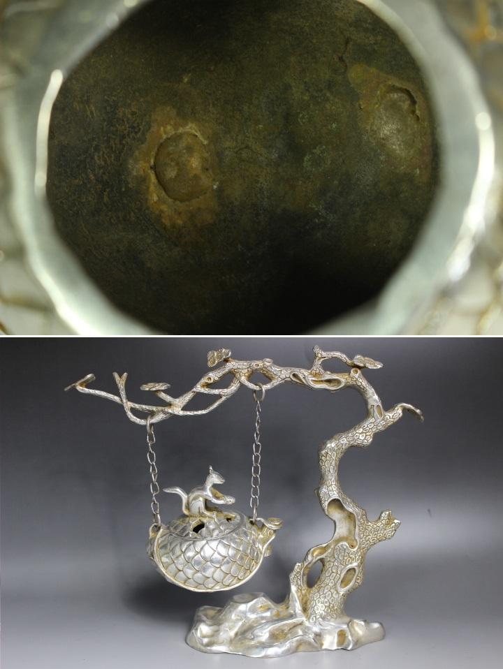 【最上】古香炉 香炉 特大 栗鼠 木 古玩 銀細工 1.35kg 古玩 年代物_画像10
