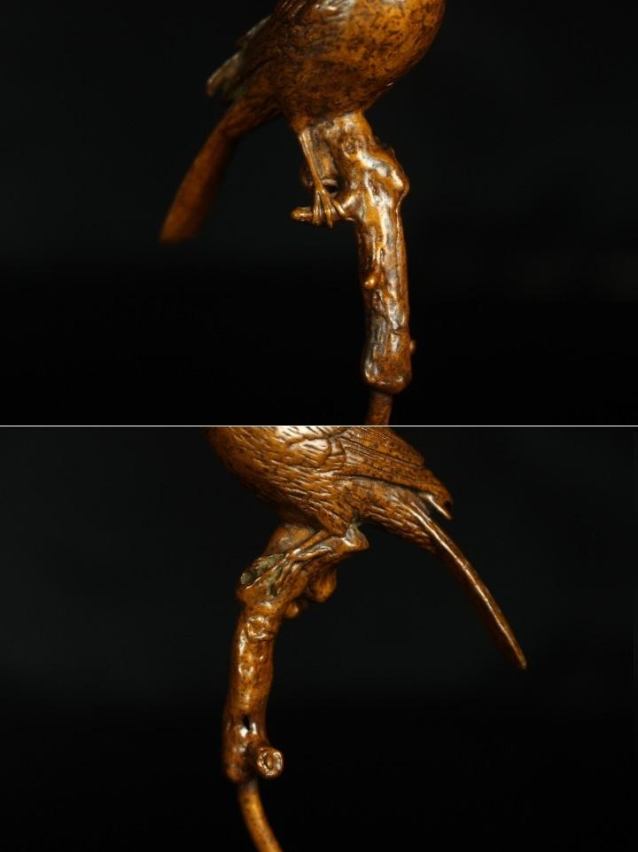 【最上】極上 初だし 金工細工 古銅製 鶯 鳥 香炉 置物 細密造 煎茶飾 置物 盆景 煎茶道具 古美術品_画像6