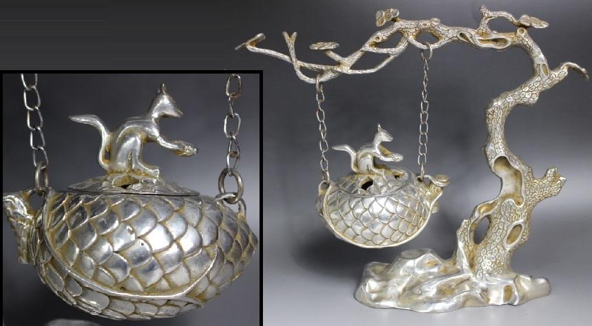 【最上】古香炉 香炉 特大 栗鼠 木 古玩 銀細工 1.35kg 古玩 年代物_画像1