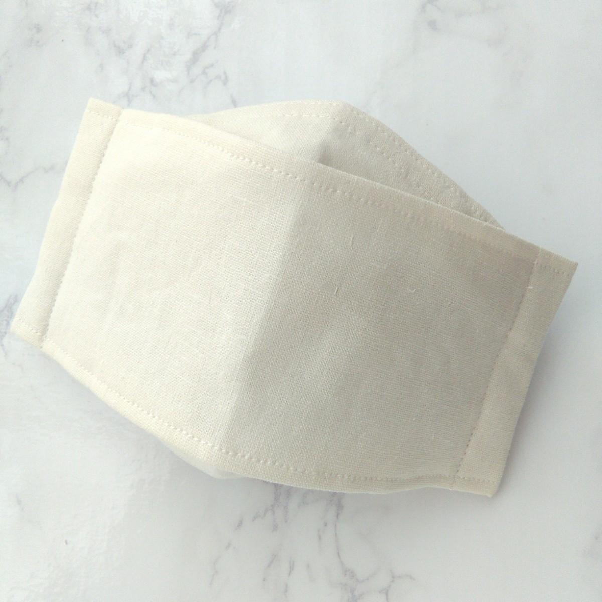 ハンドメイド 綿麻無地ミルク 大臣風 立体 インナー 大人用 コットンリネン 箱型 接触冷感に変更可能
