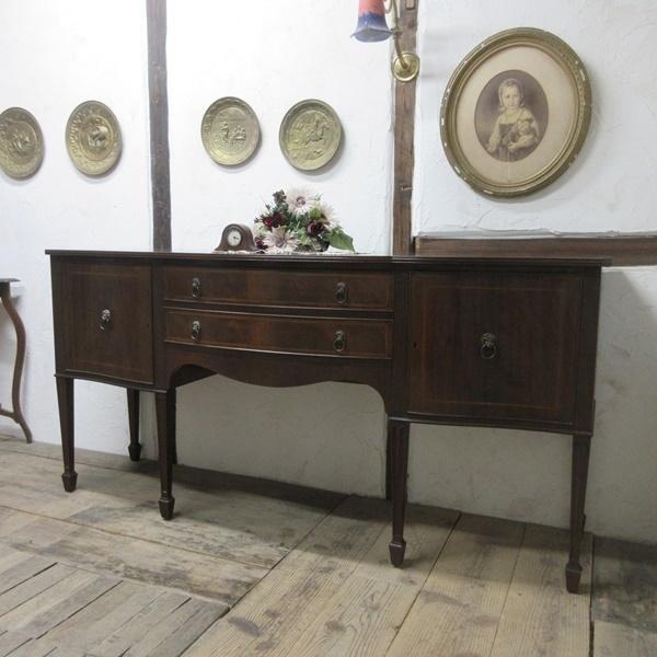 イギリス アンティーク 家具 サイドボード キャビネット 食器棚 飾り棚 収納 木製 マホガニー 英国 SIDEBOARD 6924b_画像2