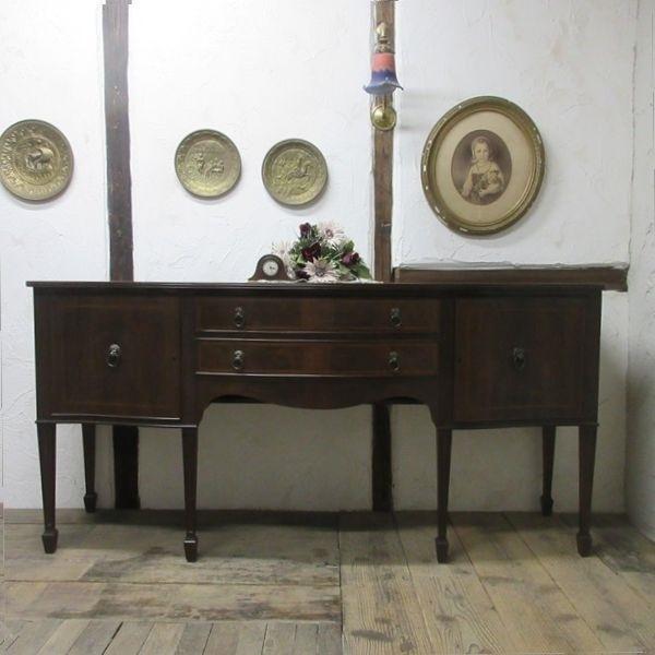 イギリス アンティーク 家具 サイドボード キャビネット 食器棚 飾り棚 収納 木製 マホガニー 英国 SIDEBOARD 6924b_画像1
