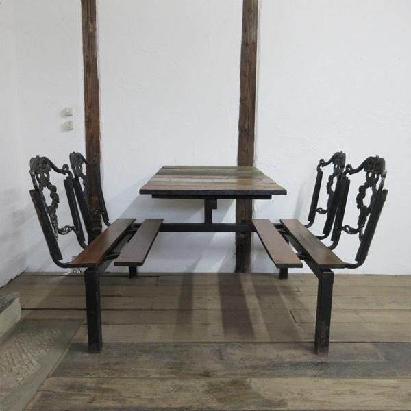 イギリス アンティーク 家具 アイアンベンチセット パブテーブルアンドベンチ ガーデン 英国 OTHERFUNITURE 6934b_画像3