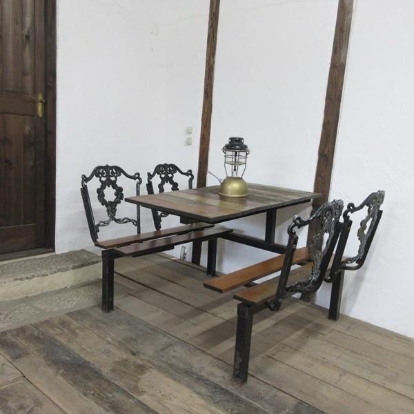 イギリス アンティーク 家具 アイアンベンチセット パブテーブルアンドベンチ ガーデン 英国 OTHERFUNITURE 6934b_画像1