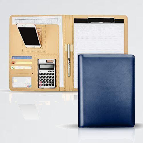 新品 好評 A4 バインダ- 9-77 オフィス 入職 クリップボ-ド クリップファイル 12桁電卓付き ホルダ-付き 軽量 高級感 360度折り返し_画像1