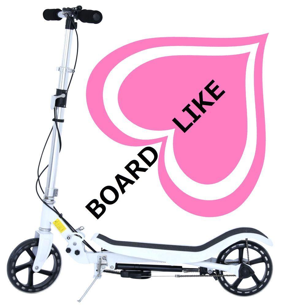 白■車両扱いで違反者になりません、歩行者と同じく歩道OK■足踏みギア付きスクーター■BOARDLIKE■キックスクーター■ボードライク