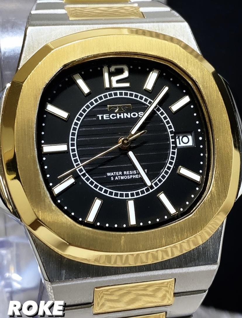 新品 テクノス TECHNOS 正規品 腕時計 ビジネスウォッチ カジュアル腕時計 メンズ プレゼント ゴールド コンビ カレンダー 5気圧防水