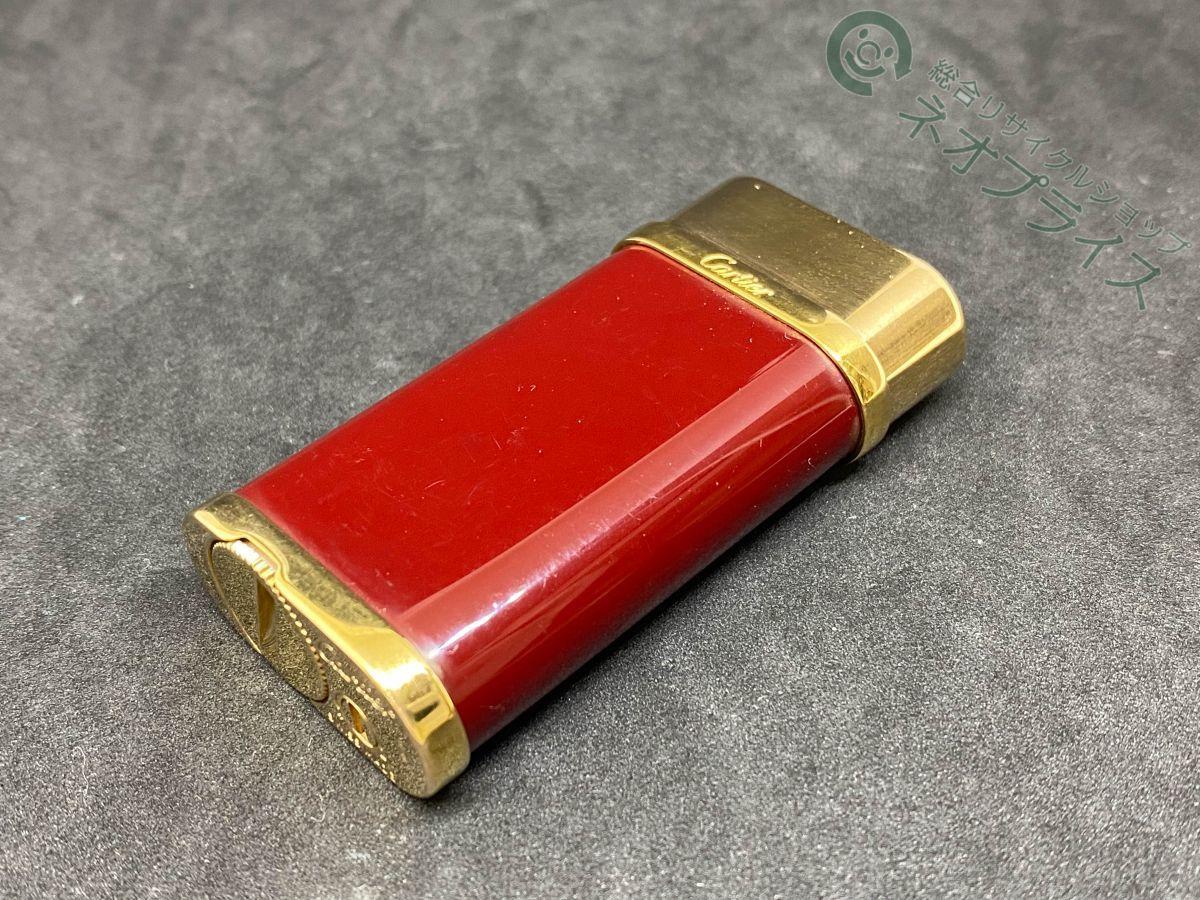 ◆Y3139 Cartier カルティエ ガス ライター ゴドロン ボルドーラッカー & ピンクゴールド 良品