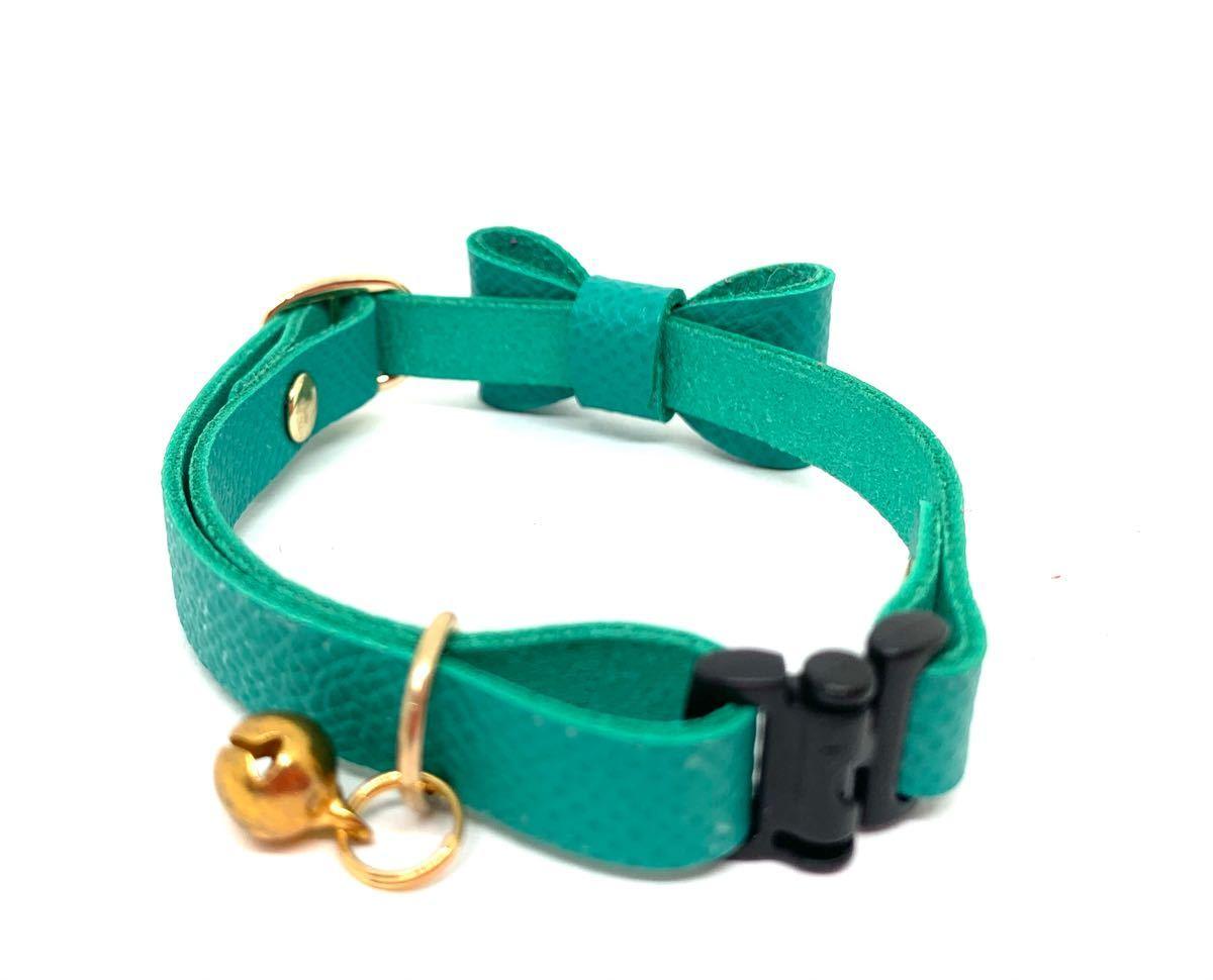 猫首輪 リボン フレンチレザー 本革