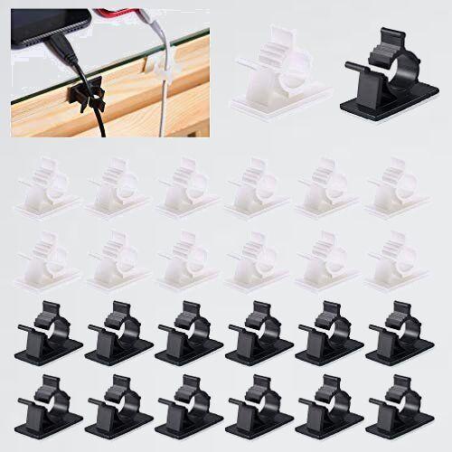 新品 未使用 4階段調節可能なケ-ブルホルダ- ケ-ブル収納、MAVEEK J-BL 白30個 黒30個 コ-ドクリップ コ-ドフック ケ-ブルクリップ_画像1