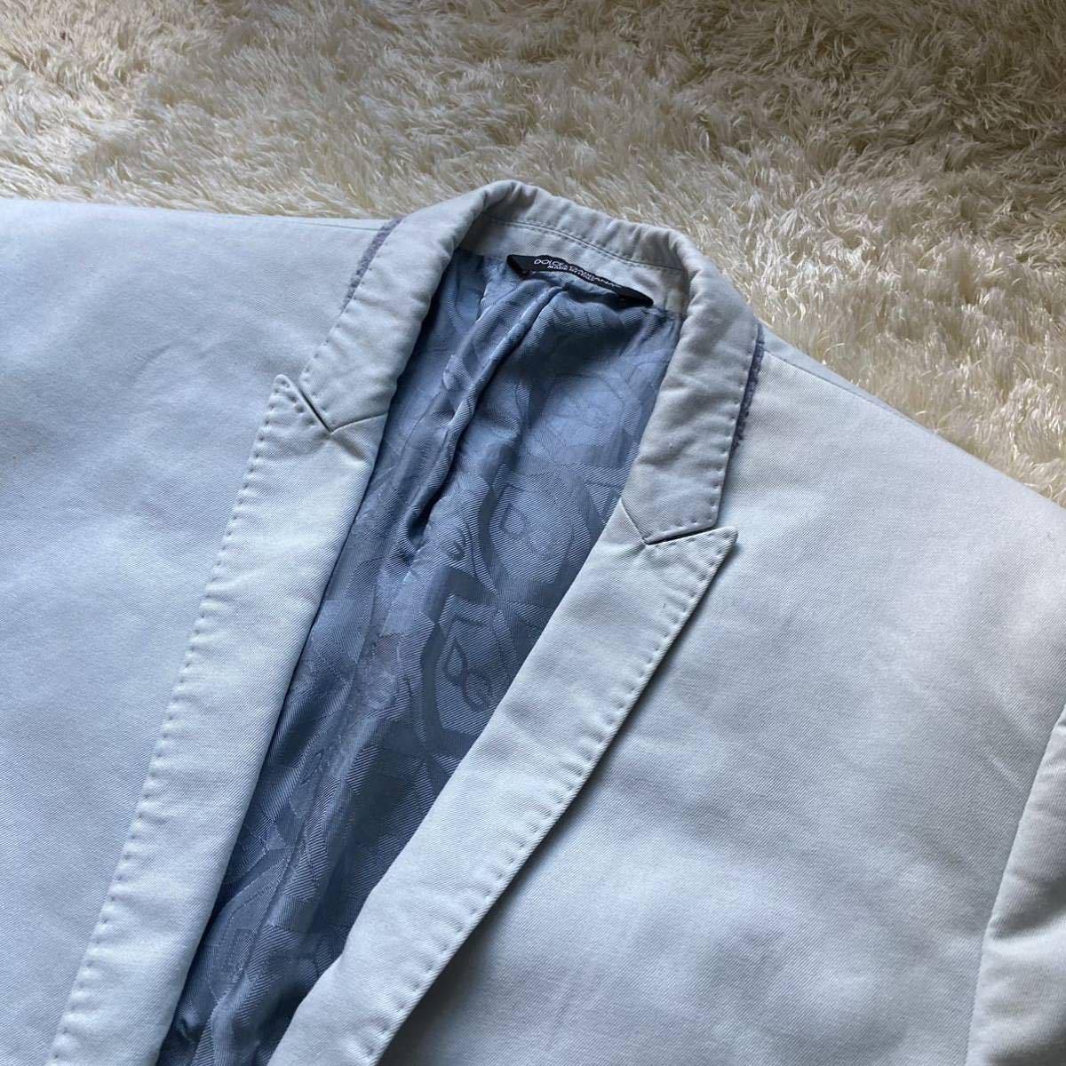 ドルチェ&ガッバーナ 「最高級の風格」DOLCE&GABBANA セットアップ 黒タグ ファッション スーツ 46 Mくらい ターコイズブルー 水色系_画像8