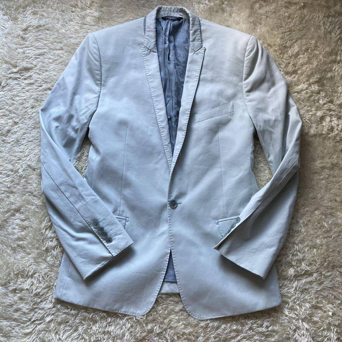 ドルチェ&ガッバーナ 「最高級の風格」DOLCE&GABBANA セットアップ 黒タグ ファッション スーツ 46 Mくらい ターコイズブルー 水色系_画像2