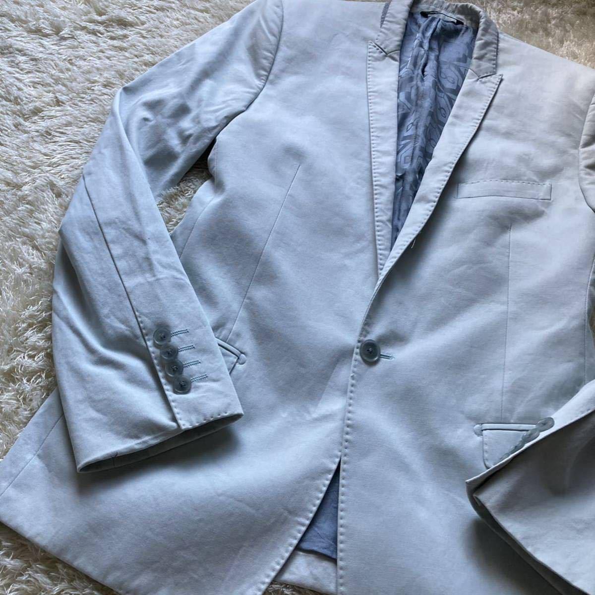 ドルチェ&ガッバーナ 「最高級の風格」DOLCE&GABBANA セットアップ 黒タグ ファッション スーツ 46 Mくらい ターコイズブルー 水色系_画像7
