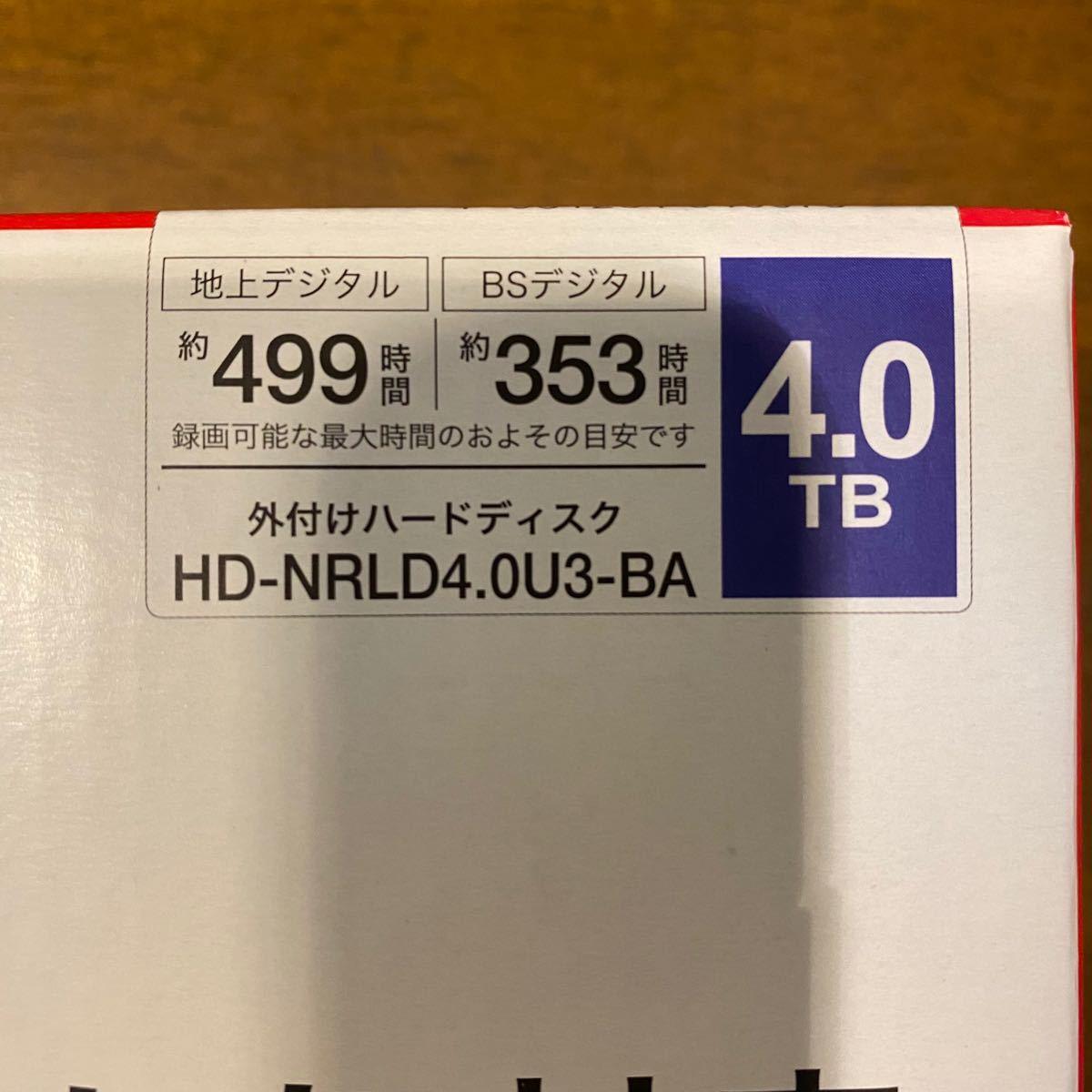 BUFFALO  外付けHDD 4TB HD-NRLD4.0U3-BA  バッファロー 外付けハードディスク