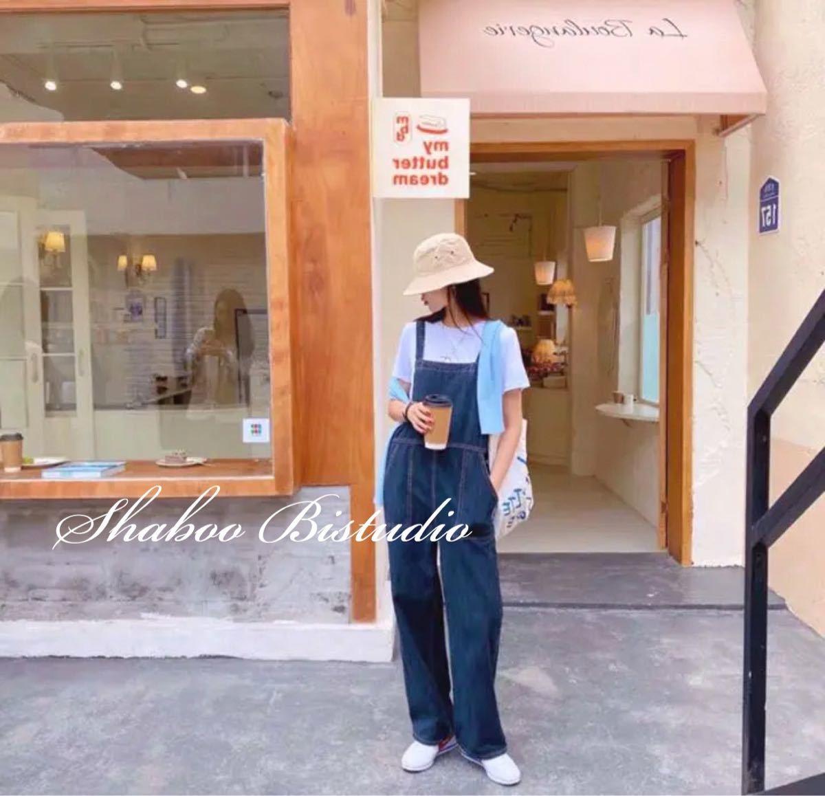 【新品】デニムオーバーオール オールインワン ワイドパンツ フリーサイズ デニムサロペット サロペット オーバーオール