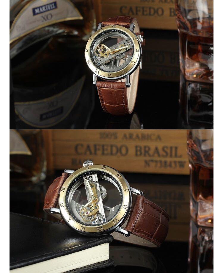 男性腕時計 高級機械式自動巻 スケルトンデザイン 両面 トゥールビヨン 文字盤 本革ベルト メンズウォッチ 紳士 ブラック ブラウン 1104_画像7