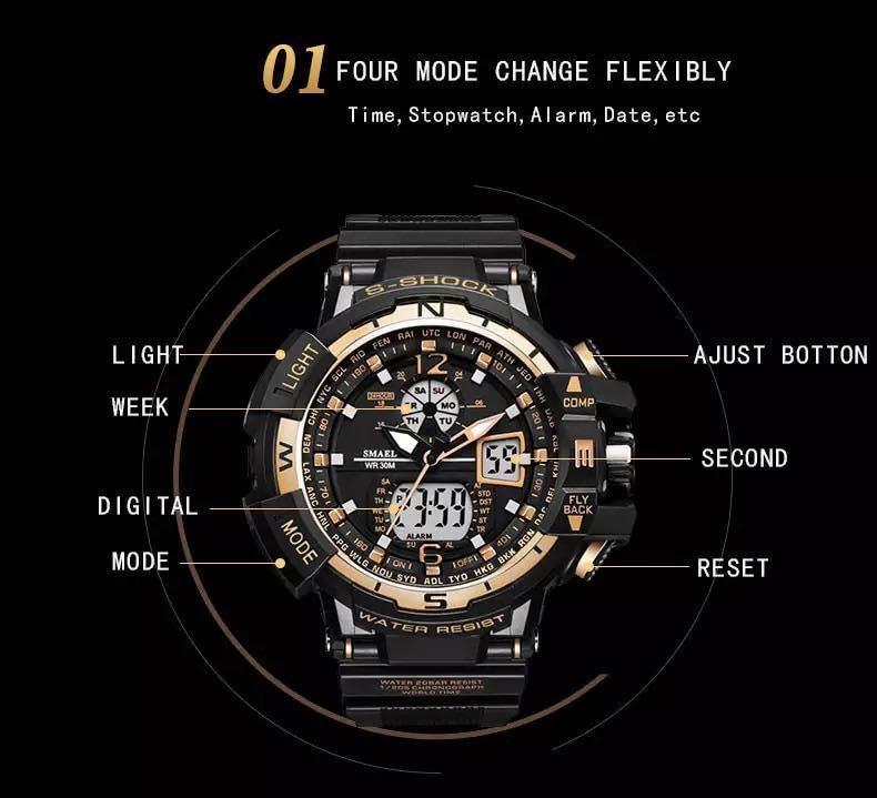 ◆最安最安 1円 Smael ウォッチ 腕時計 メンズ デジタル スポーツ 防水時計 クロノグラフ クォーツ 電子 軍事腕時計 男性 ledデジタル 1755_画像5