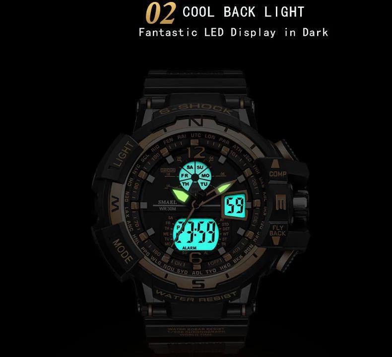 ◆最安最安 1円 Smael ウォッチ 腕時計 メンズ デジタル スポーツ 防水時計 クロノグラフ クォーツ 電子 軍事腕時計 男性 ledデジタル 1757_画像2
