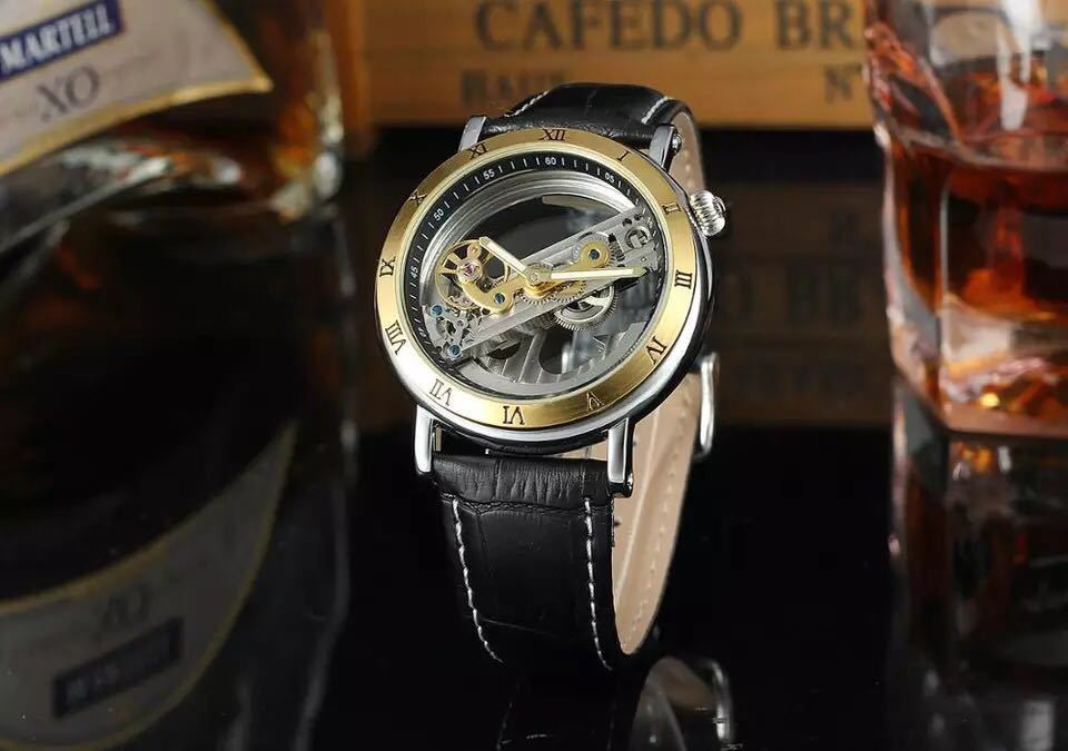 男性腕時計 高級機械式自動巻 スケルトンデザイン 両面 トゥールビヨン 文字盤 本革ベルト メンズウォッチ 紳士 ブラック ブラウン 1104_画像1