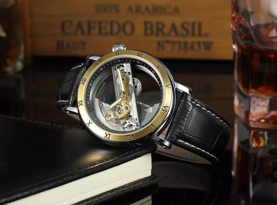 男性腕時計 高級機械式自動巻 スケルトンデザイン 両面 トゥールビヨン 文字盤 本革ベルト メンズウォッチ 紳士 ブラック ブラウン 1104_画像4