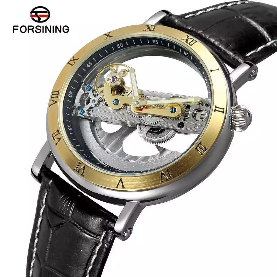 男性腕時計 高級機械式自動巻 スケルトンデザイン 両面 トゥールビヨン 文字盤 本革ベルト メンズウォッチ 紳士 ブラック ブラウン 1104_画像2