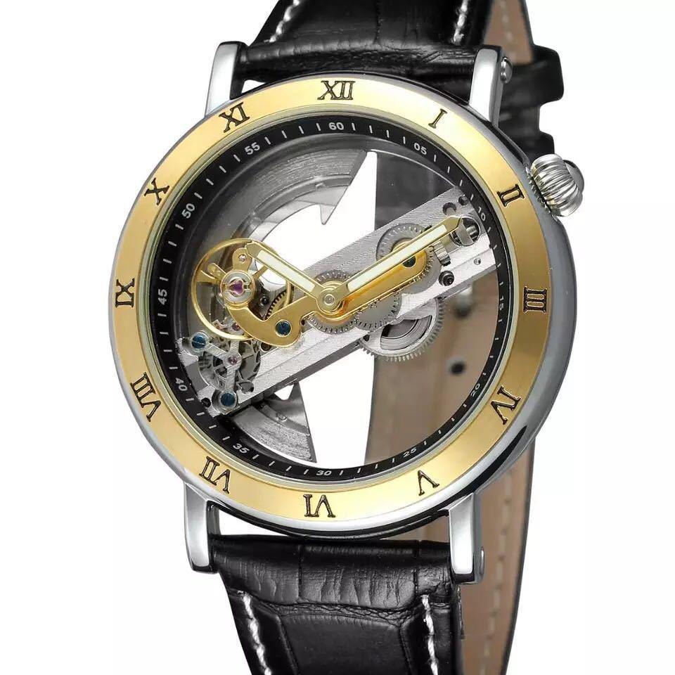 男性腕時計 高級機械式自動巻 スケルトンデザイン 両面 トゥールビヨン 文字盤 本革ベルト メンズウォッチ 紳士 ブラック ブラウン 1104_画像3