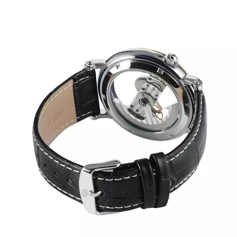 男性腕時計 高級機械式自動巻 スケルトンデザイン 両面 トゥールビヨン 文字盤 本革ベルト メンズウォッチ 紳士 ブラック ブラウン 1104_画像5