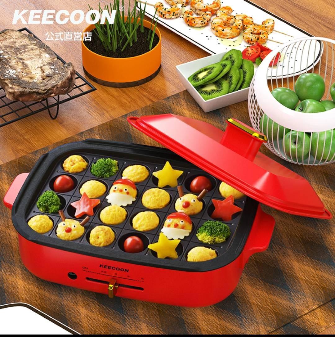 KEECOON ホットプレート たこ焼き器 レッド