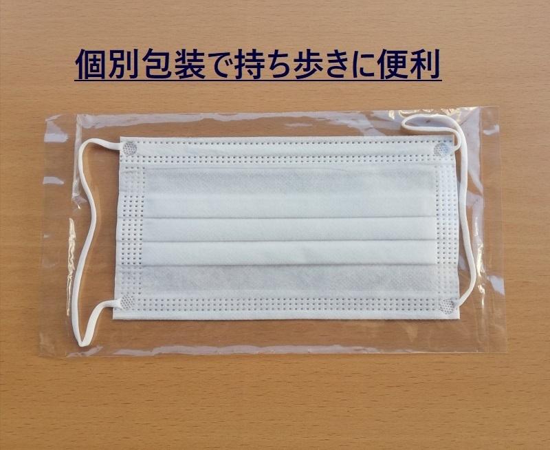 不織布マスク 個包装 30枚 1枚ずつ個別包装 使い捨てマスク  耳が痛くならない幅広ゴム_画像2