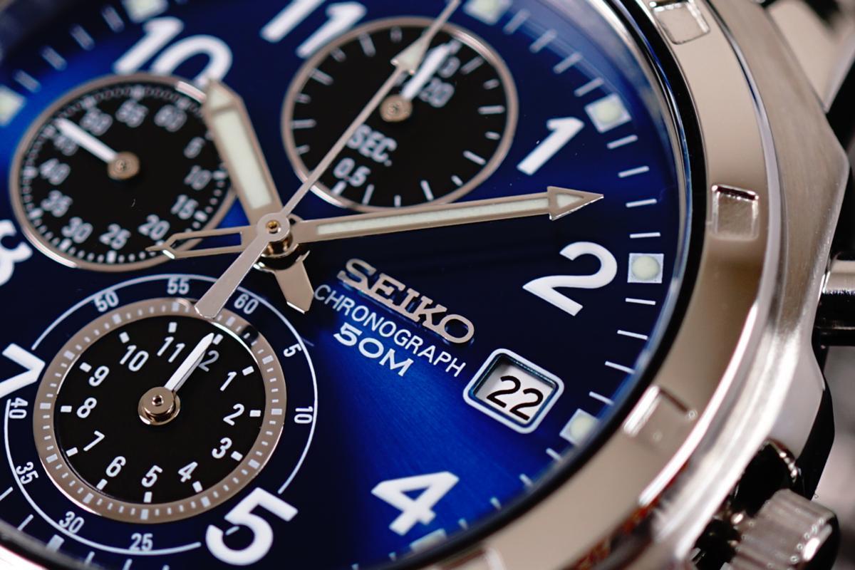 1円×3本セイコー逆輸入SEIKO欧州 50m防水 クロノグラフ 洗練された美しすぎるブルー&ブラック 新品未使用 本物 メンズ 1スタ 腕時計