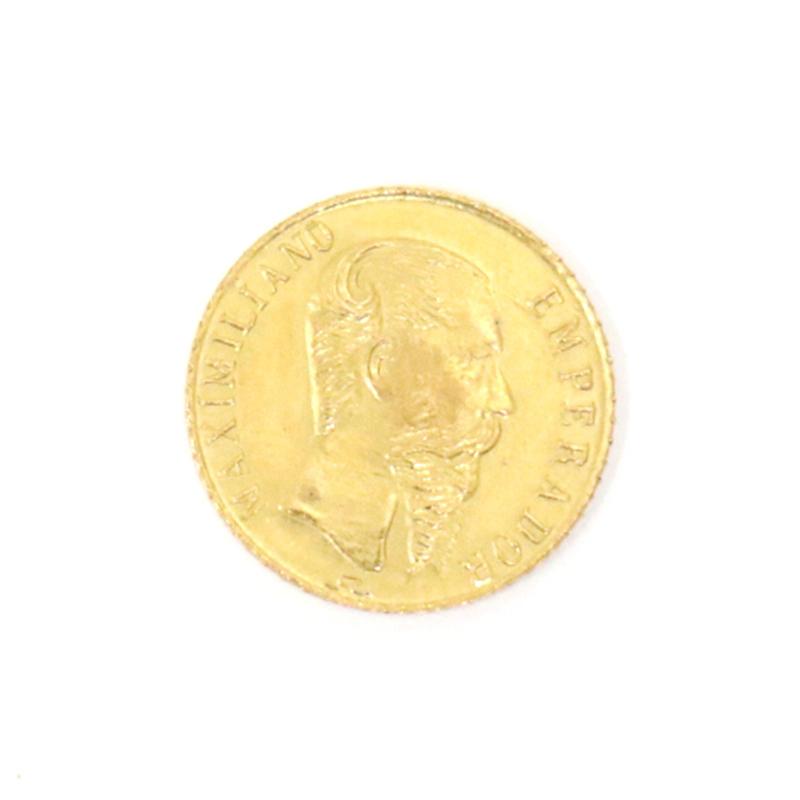 ◆ 送料無料 ◆ 1865 メキシコ 1ペソ 金貨 ◆ マキシミリアン ◆ 外国 / 古銭 ◆ 0.48g ◆