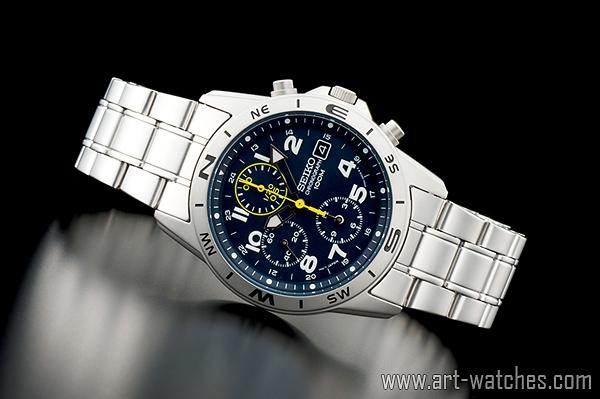 【1円開始】セイコー 海外 SEIKO ミリタリー ブルー 100m防水 クロノグラフ 新品 腕時計_画像2