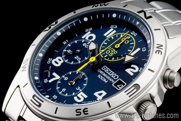 【1円開始】セイコー 海外 SEIKO ミリタリー ブルー 100m防水 クロノグラフ 新品 腕時計_画像1