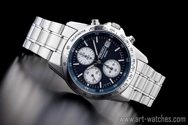 【1円開始】セイコー 逆輸入 ネイビー&ホワイト 新品 1/20秒 クロノグラフ 腕時計_画像2