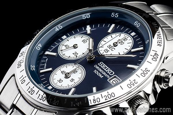 【1円開始】セイコー 逆輸入 ネイビー&ホワイト 新品 1/20秒 クロノグラフ 腕時計_画像1