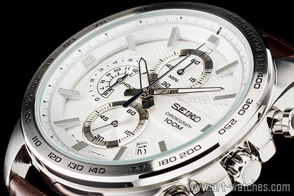 【1円開始】セイコー 海外 シルバーフェイス 100m防水 タキメーター 本革ベルト クロノグラフ 新品 腕時計_画像1