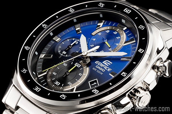 【1円開始】カシオ 海外 サファイアブルー&ブラックカラー EDIFICE 100m防水 クロノグラフ 新品 腕時計_画像1